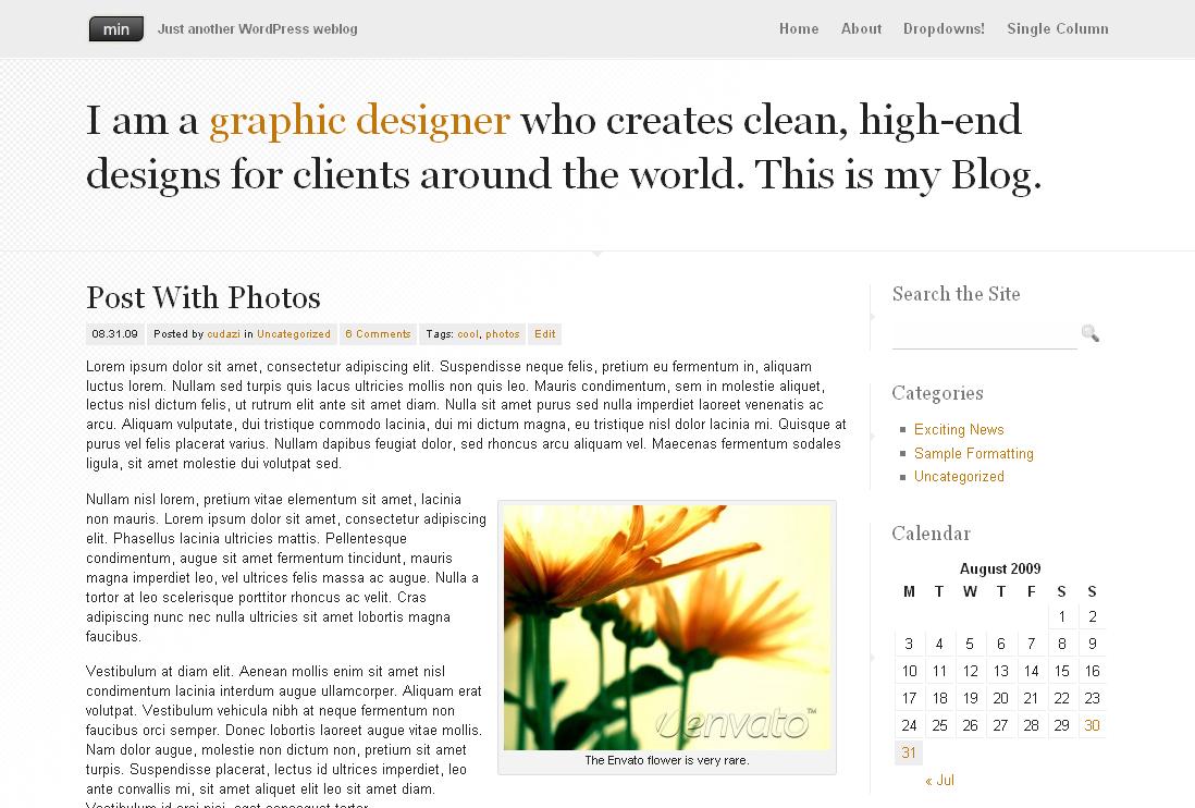 Min - A Minimal Wordpress Theme