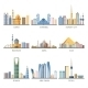 Eastern Cityscapes Landmarks Flat Icons Collection