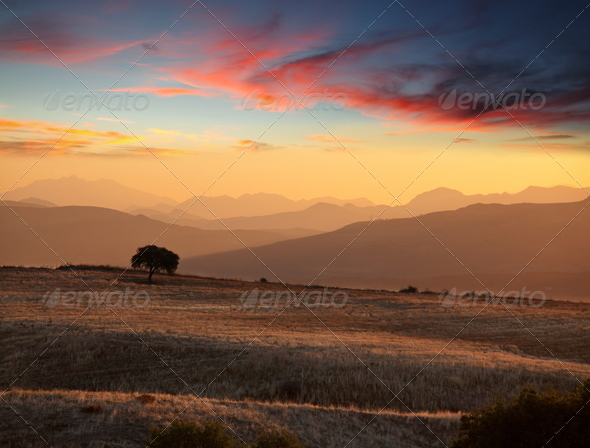 Mountains silhouette - Stock Photo - Images