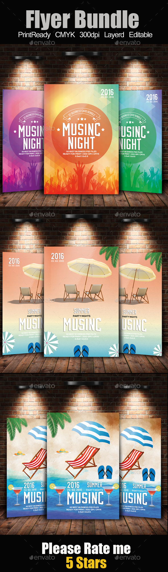 Electro Summer Flyer Template Bundle