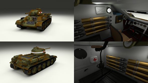 T34/76 with Interior Camo 3D Model - 3DOcean Item for Sale
