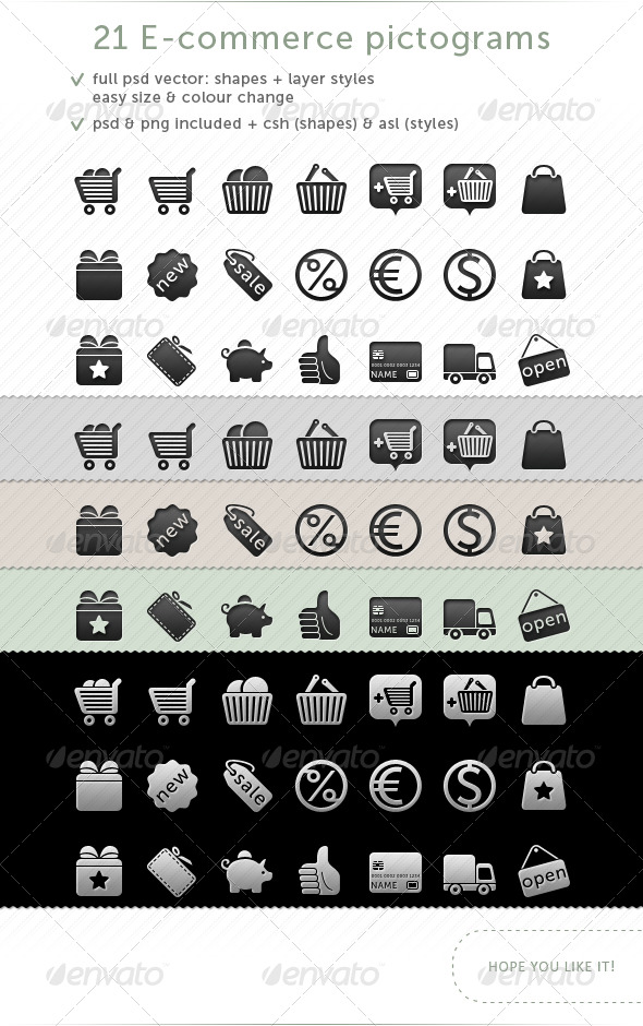 21 e-commerce Pictograms - Web Icons
