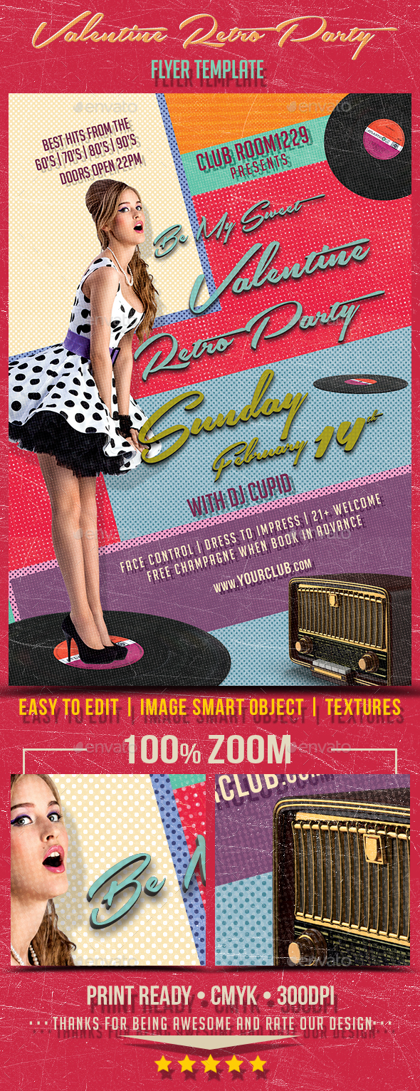 Valentine Day Retro Party Flyer Template