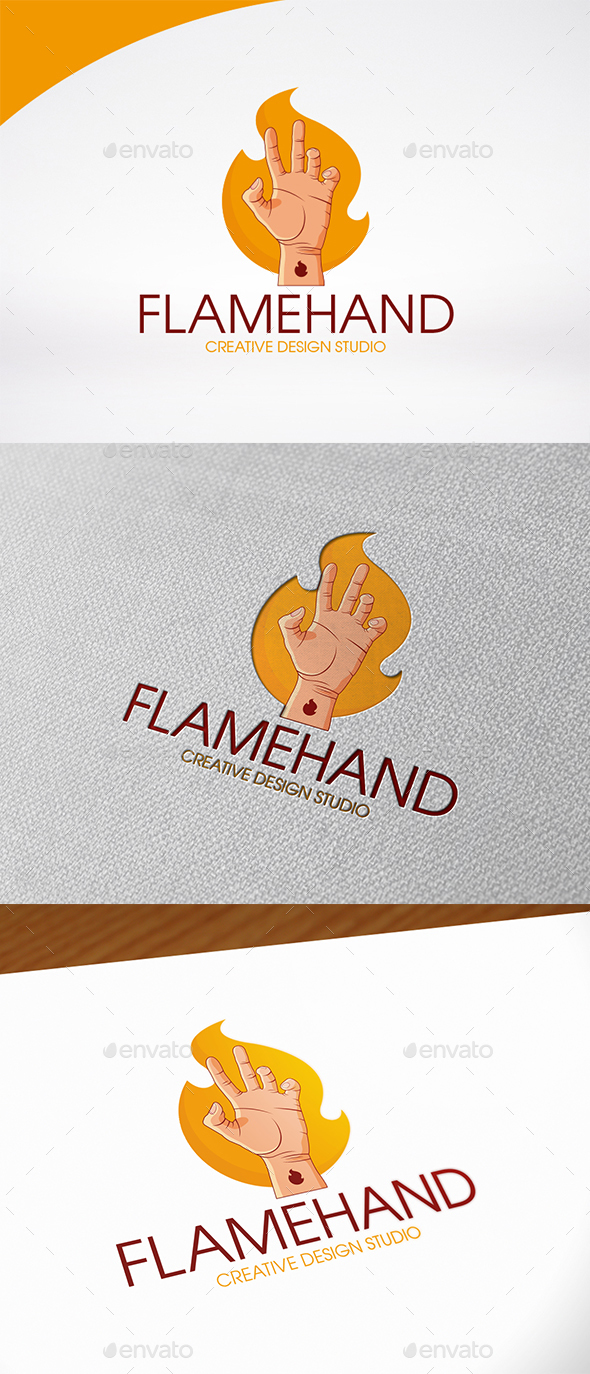 Fire Hand Logo Template