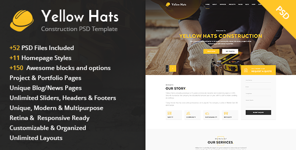 Yellow Hats – Construction Business PSD Template (Business) images