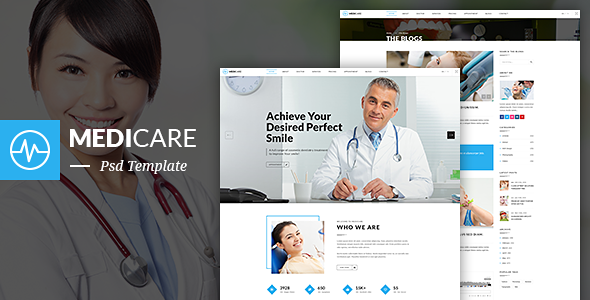 MediCare – Dentist, Medical One Page PSD Template (Health & Beauty) images