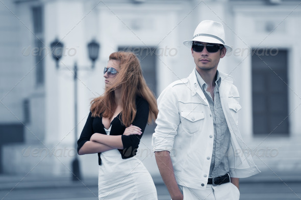Young Couple A City Street - Stock Photo - Images