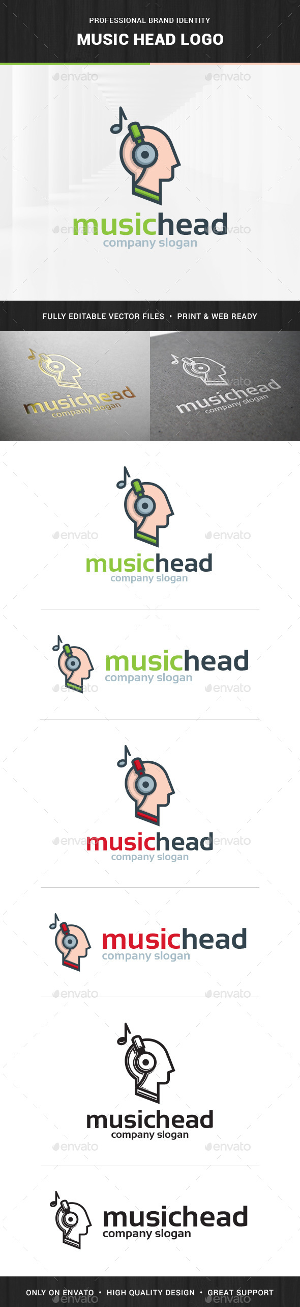 Music Head Logo Template