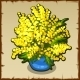 Bright Yellow Bouquet of Mimosas in Blue Pot