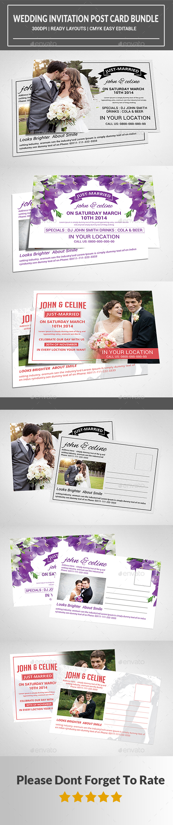 Wedding Invitation Post Card Bundle