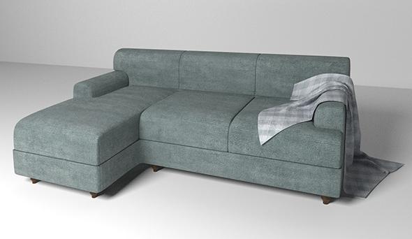 Velvet fabric sofa - 3DOcean Item for Sale