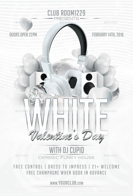 white valentine day flyer template by designroom1229