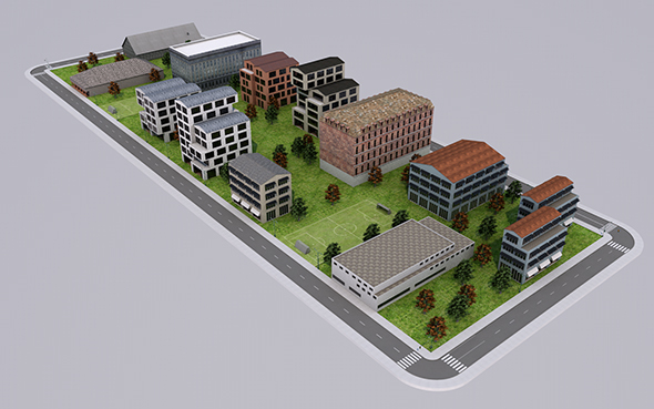 Low Poly City - 2 (Ready to Render) - 3DOcean Item for Sale