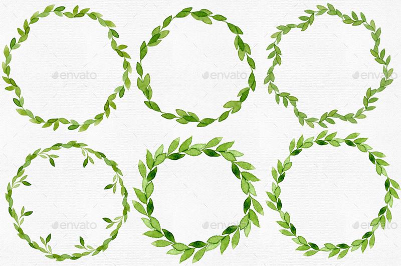 12 Watercolor Leaves Wreaths By Helga Wigandt
