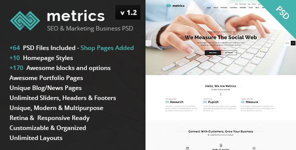 Metrics - SEO & Marketing Business PSD Template