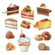 Pastry Set in Cartoon Style