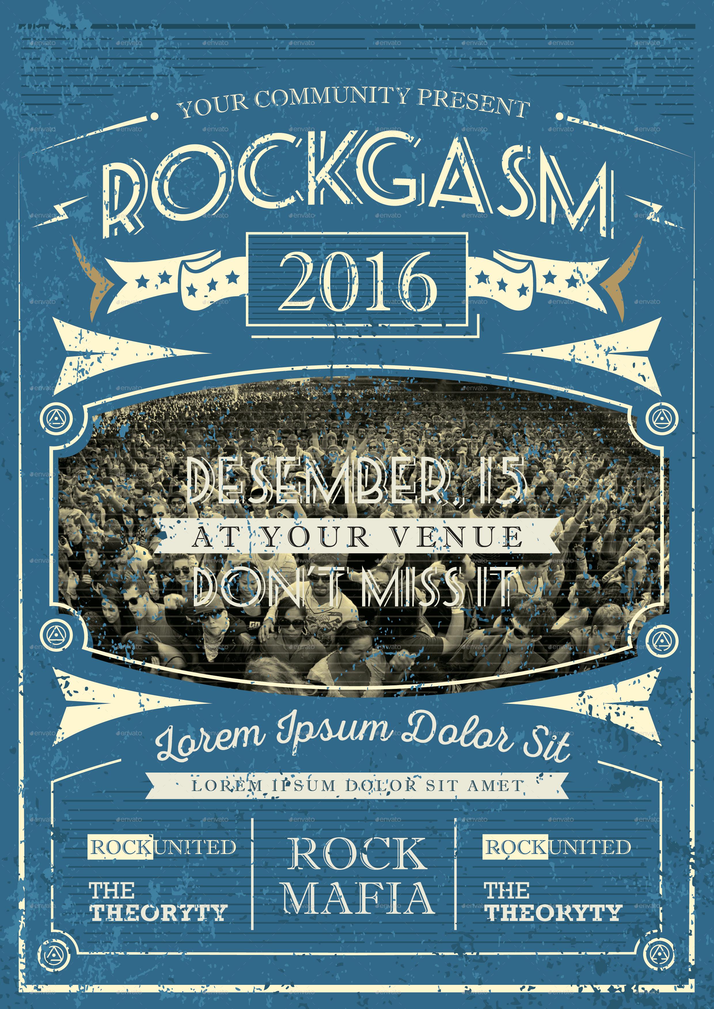 Super Vintage Music Flyer by RockGasm – Music Flyer