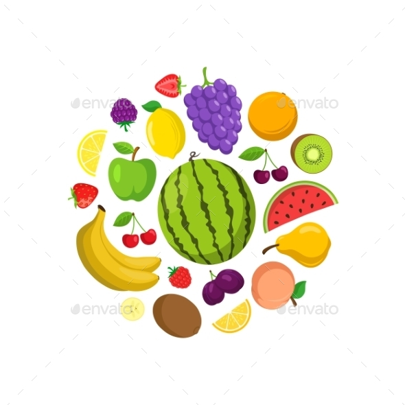 Fruits Round Composition.
