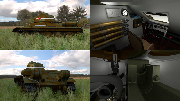 T34/76 Tank with Interior HDRI Camo - 3DOcean Item for Sale