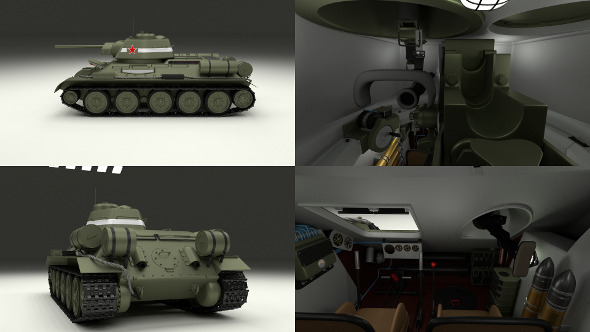 T34/76 Tank with Interior  - 3DOcean Item for Sale