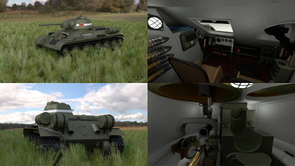 T34/76 Tank with Interior HDRI - 3DOcean Item for Sale