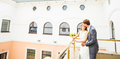 wedding  beautiful young  couple stand on the balcony