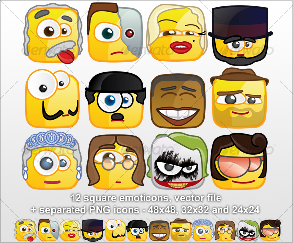 GraphicRiver 12 Square emoticons Persons 57326