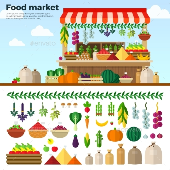 Healthy Food Market Of Vegetables, Fruits, Berries