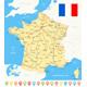 France Map, Flag, Navigation Icons, Roads, Rivers - Illustration.