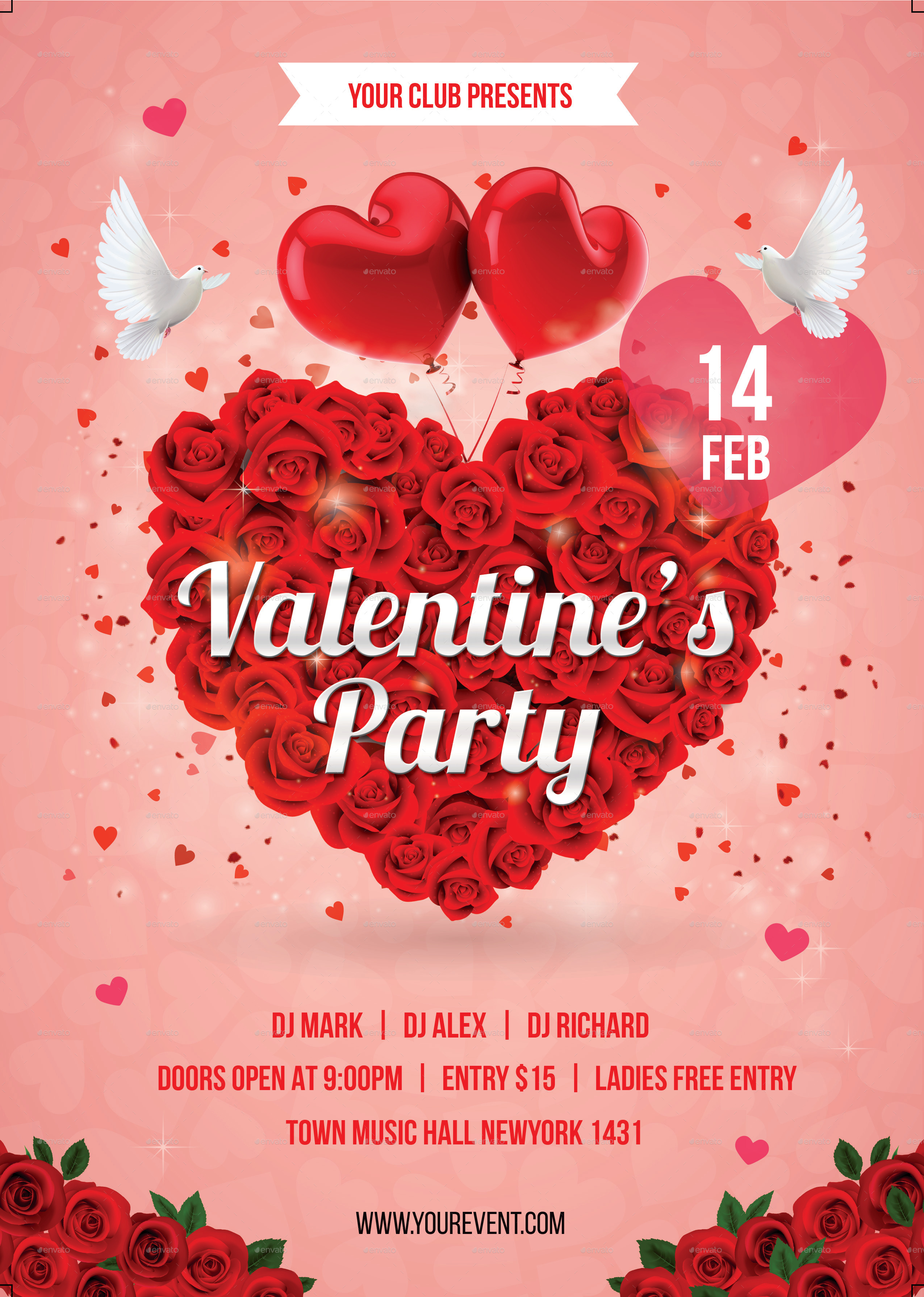 Valentine Day Party Flyer by infinite78910 | GraphicRiver
