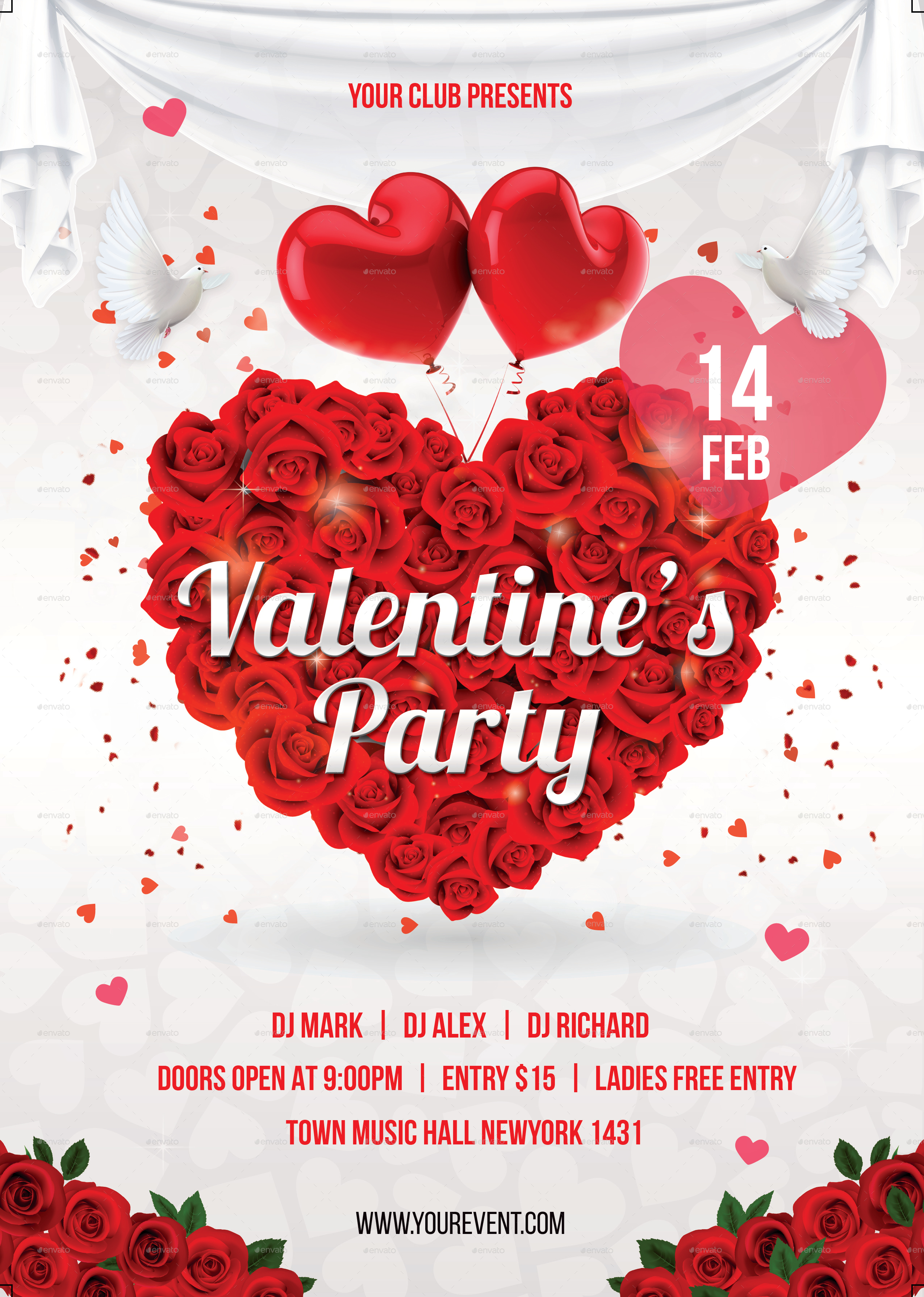 valentine day party flyer by infinite78910