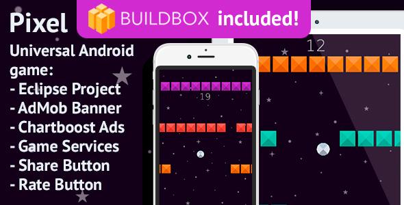 BuildBox Game. Pixel: Android, Easy Reskin, AdMob & Chartboost