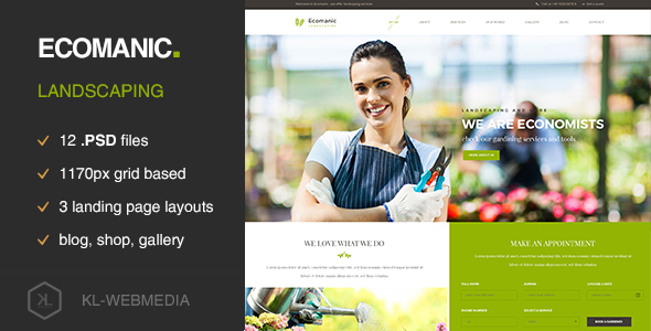 Ecomanic – Landscaping PSD Template (Environmental) images