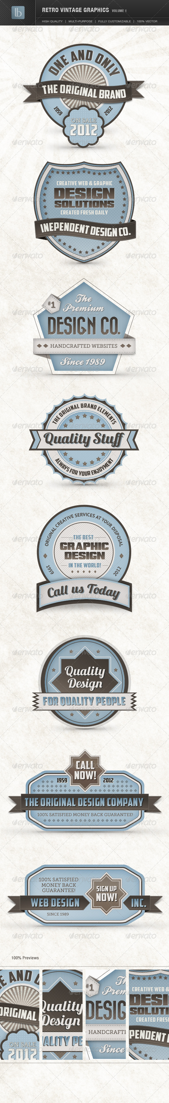 Retro Vintage Graphics | Volume 1  - Badges & Stickers Web Elements