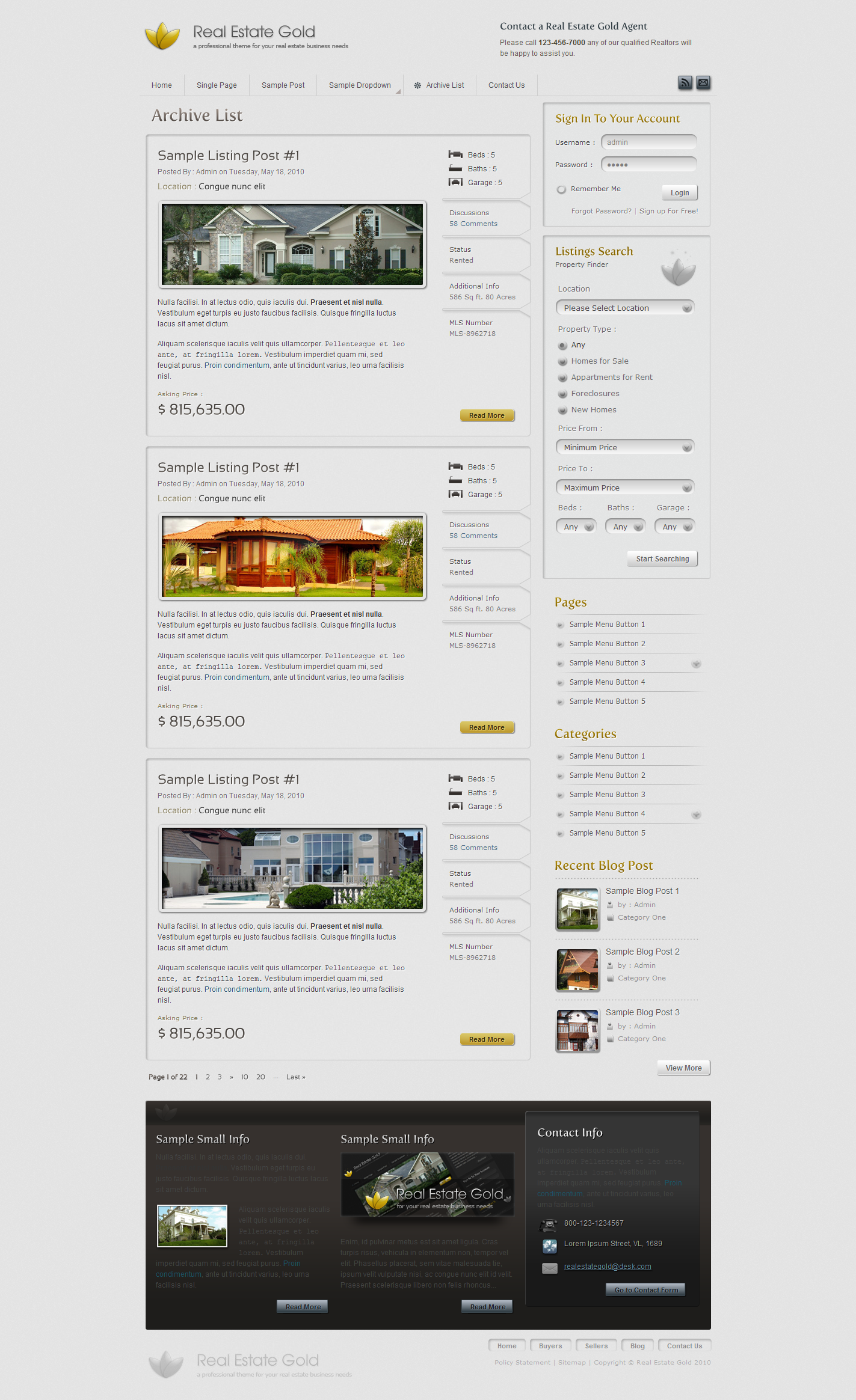 Real Estate Gold HTML