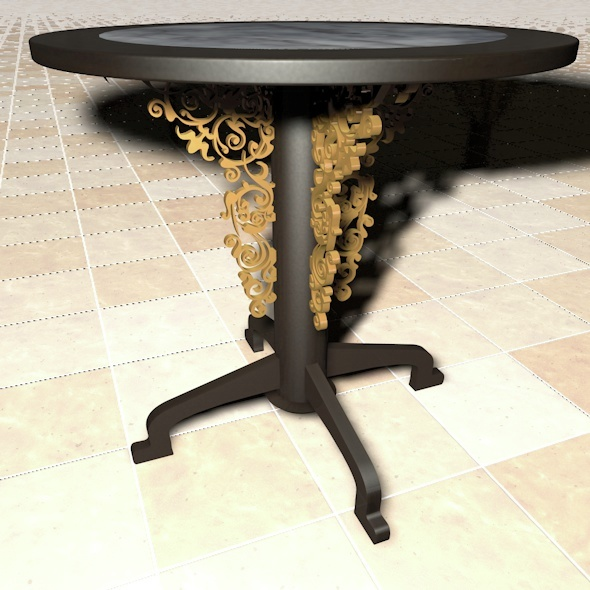 Rounded Table With Ornament - 3DOcean Item for Sale