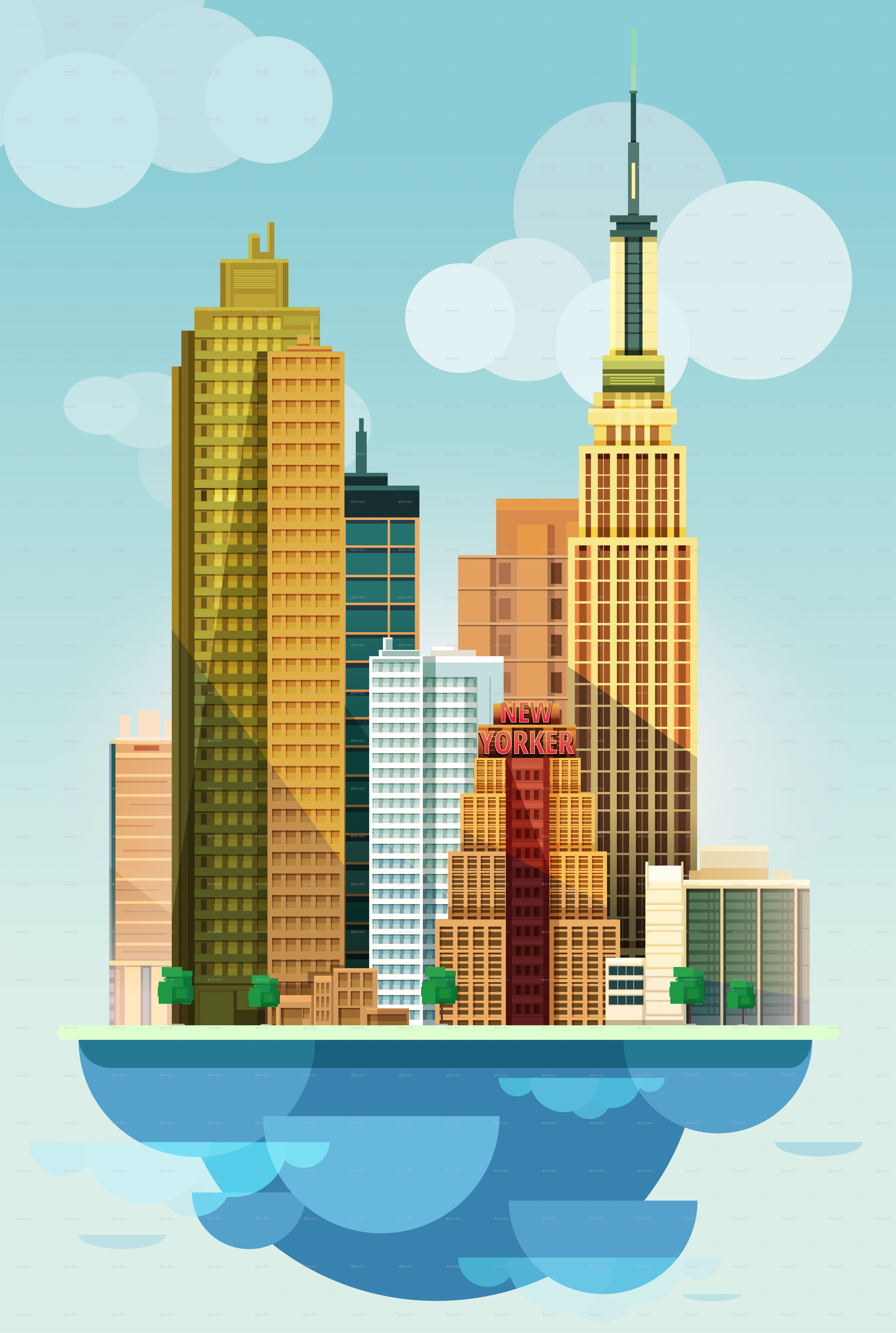 city illustration new york flat design by vitaliyvill