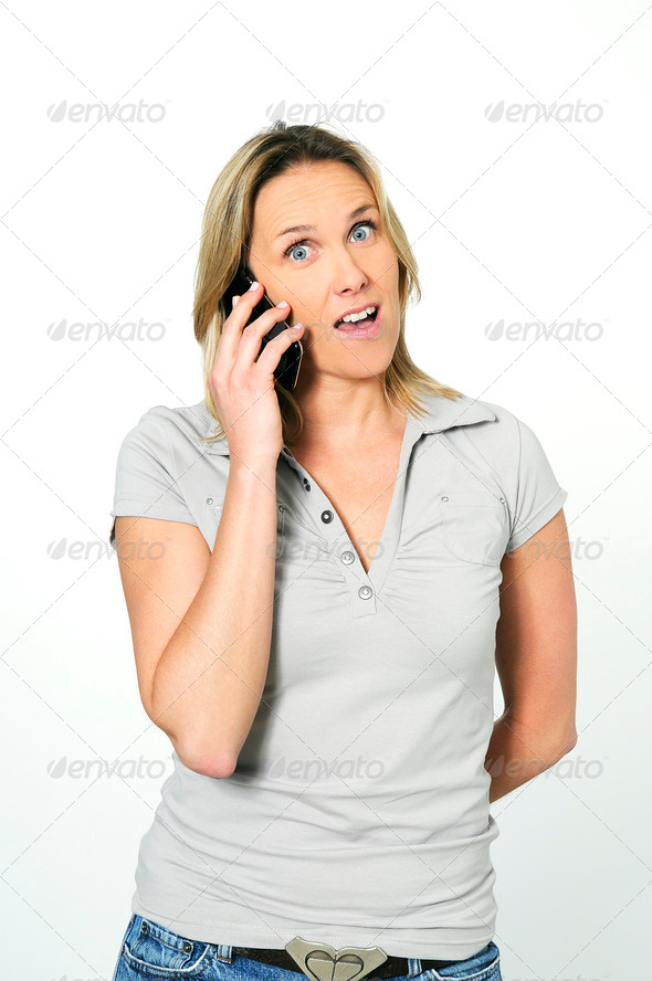 speaking on cellphone - Stock Photo - Images