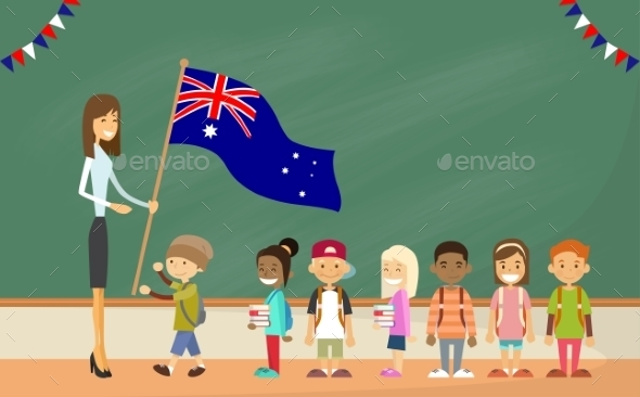 Teacher School Holding Australia Flag Children