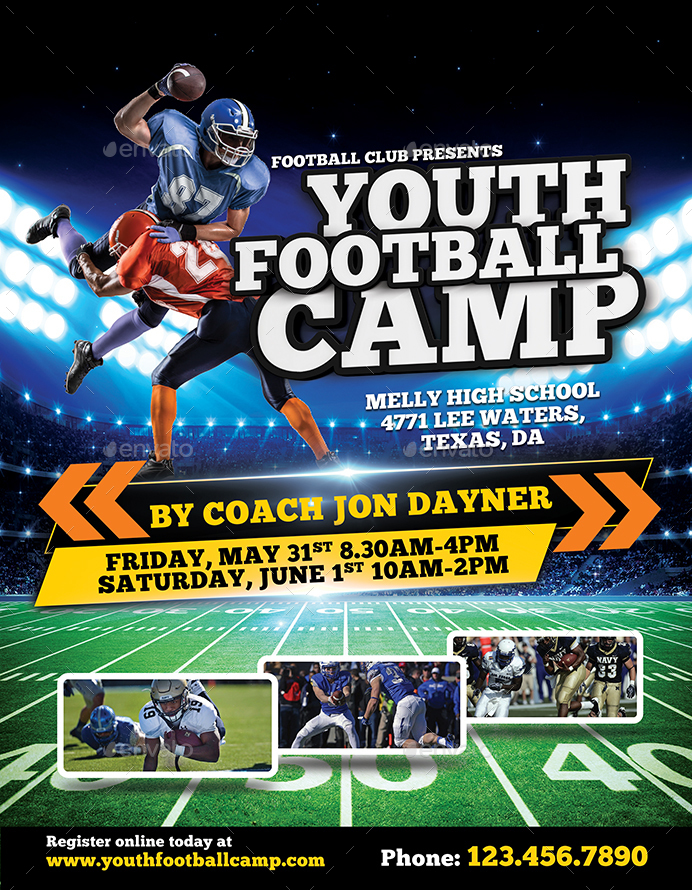 sports camp brochure template - football camp flyer by inddesigner graphicriver