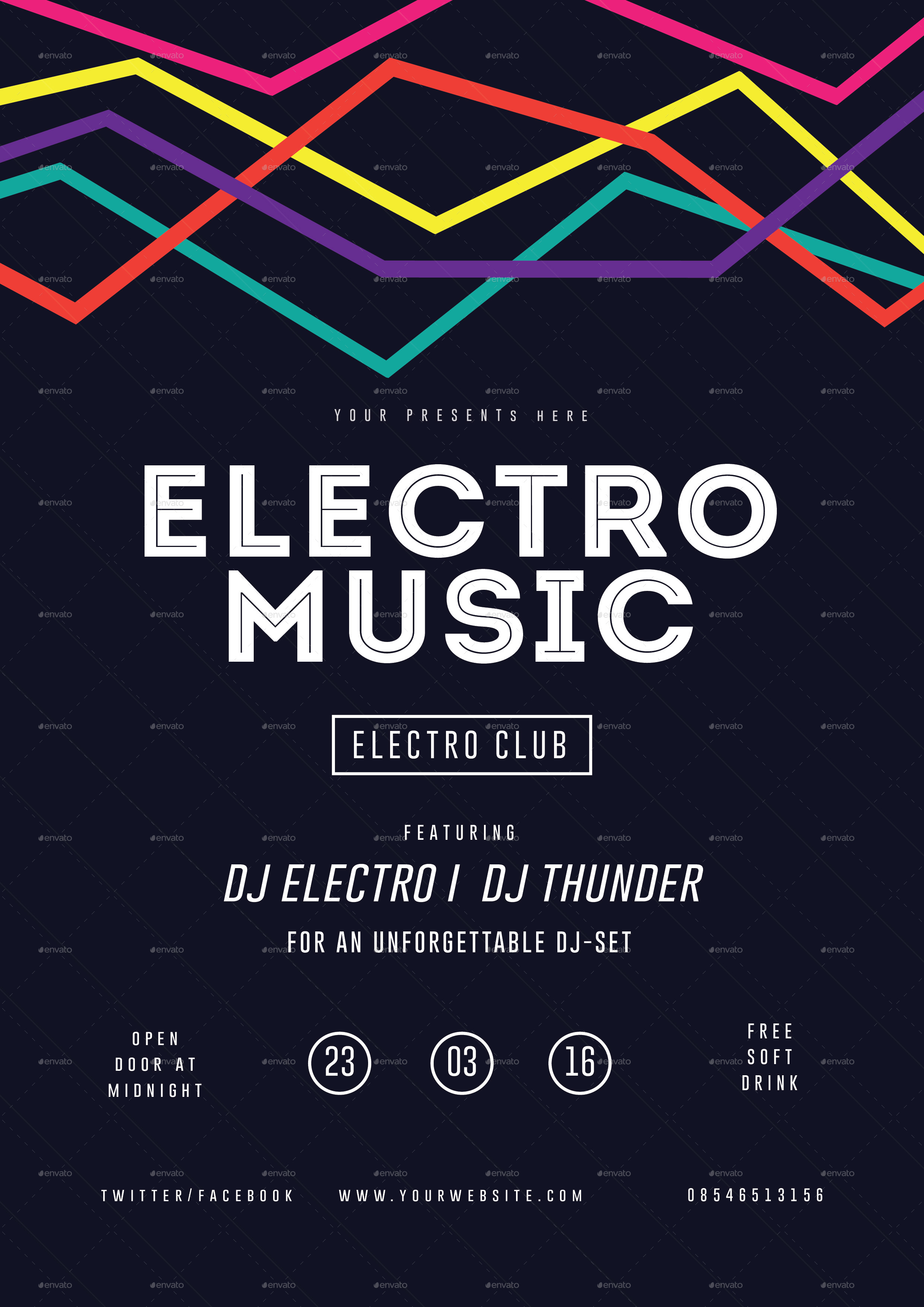 Electro Musik Flyer Poster by lilynthesweetpea – Electro Flyer