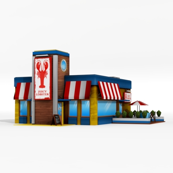 Low Poly Seafood Restaurant - 3DOcean Item for Sale