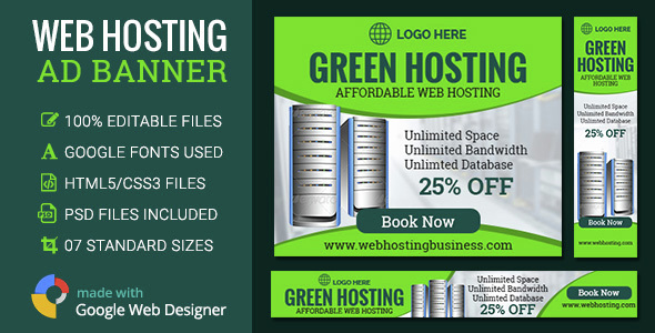 Download GWD | Web Hosting Ad Banners - 7 Sizes nulled download