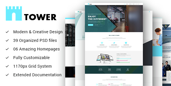 TOWER – Creative Small Business PSD Template for Startups (Business) images