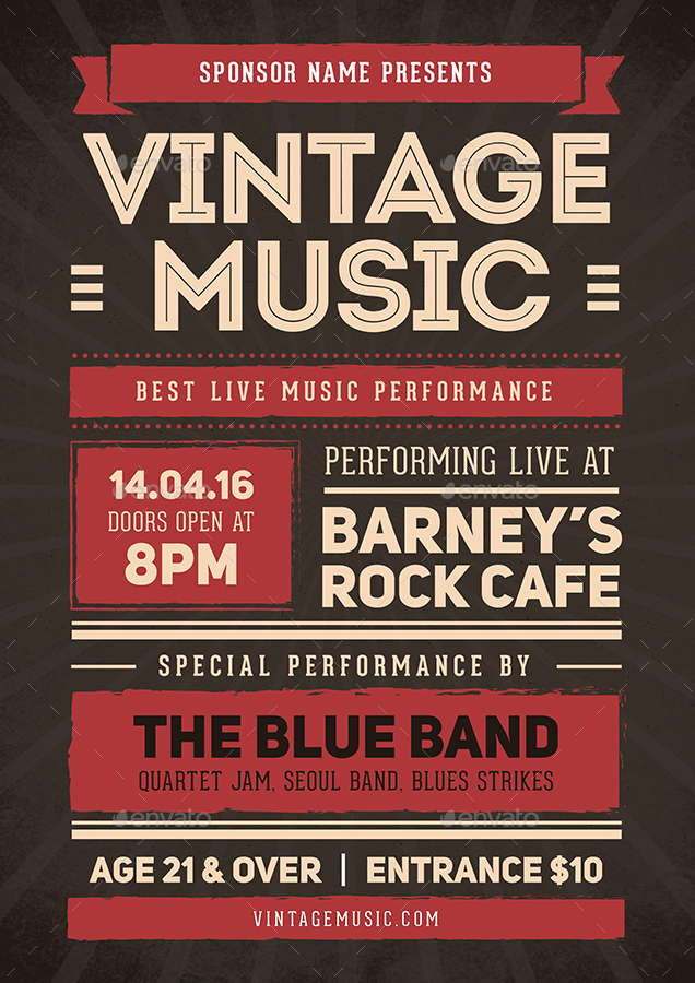 Vintage Music Flyer Poster by vynetta – Music Flyer