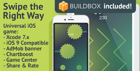 BuildBox Game Template: Swipe the Right Way - iOS 8/9 Universal Game; Easy Reskin; AdMob, Chartboost - CodeCanyon Item for Sale