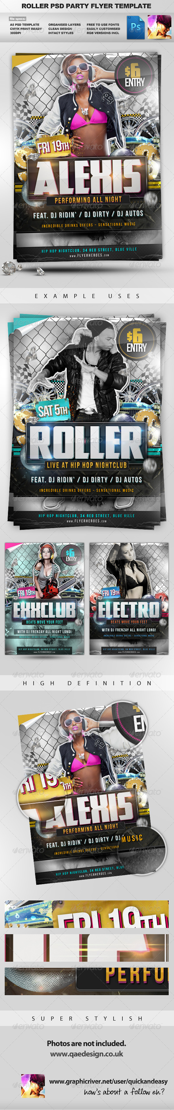 Roller - Hip Hop style PSD Party Flyer Template - Clubs & Parties Events