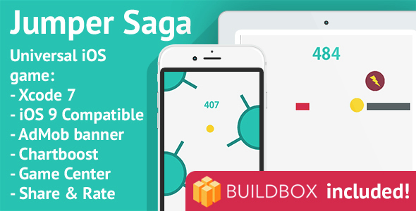 BuildBox Game Template: Jumper Saga - iOS 8/9 Universal Game; Easy Reskin; AdMob, Chartboost - CodeCanyon Item for Sale