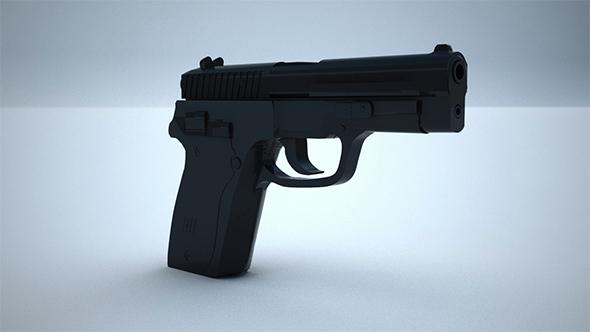 Low Poly 9mm Pistol - 3DOcean Item for Sale