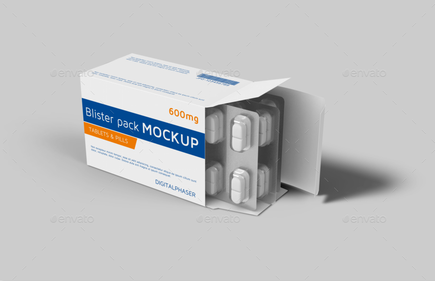 tablets capsule blister pack box mockup by fusionhorn